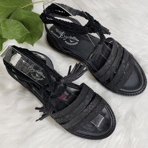 Seychelles Black Strappy Embossed Leather Sandals
